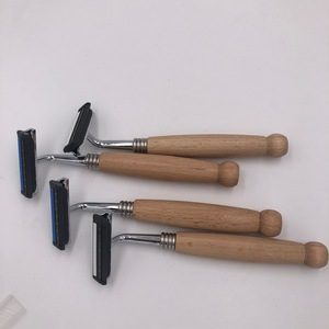 Eco friendly wooden handle safety twin blade shaving razor