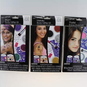 glitter body art set with tattoos