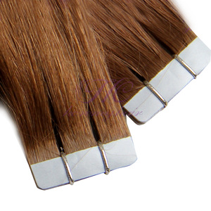 Remy Russian human hair materials brown color tape on hair extension