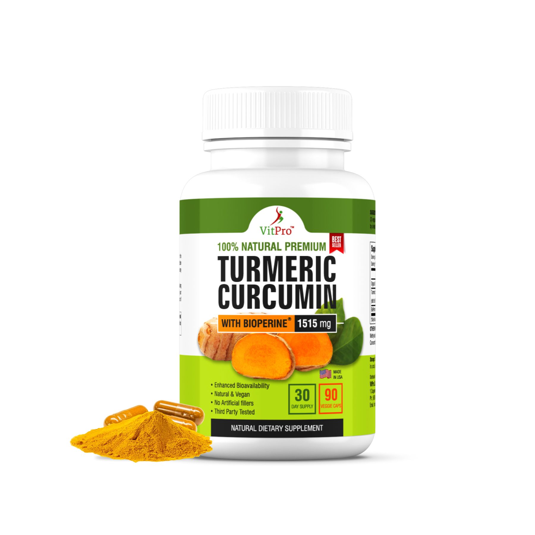 VitPro Turmeric Curcumin with BioPerine 1515mg Natural Joint&Healthy Support-90Capsules