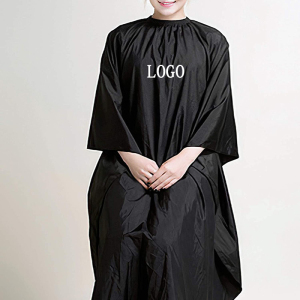 customized logo salon black waterproof polyester hairdressing barber capes