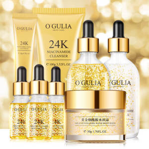 OEM Good Price Private Label Beauty SKin Care Products organic Anti-Aging Whitening 8Pcs Face 24K Skin Care Set