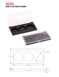 3 colors custom empty plastic eye shadow case custom cosmetic packaging