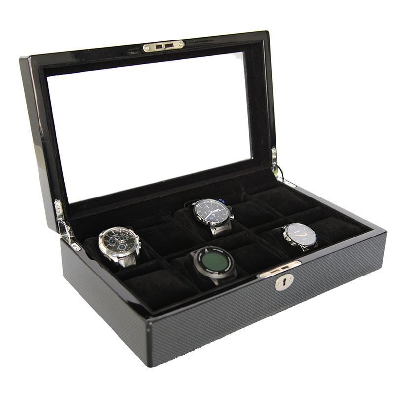 Collection classical black watch case storage display box  watch storage display box