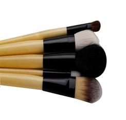 black makeup brush set  with bamboo handle
