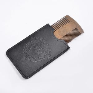 Pocket handmade double sided green wooden sandalwood hair beard comb