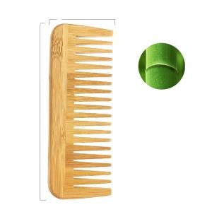 Professional Custom Logo Natural Bamboo Wooden Wide Tooth Hair Detangler Comb