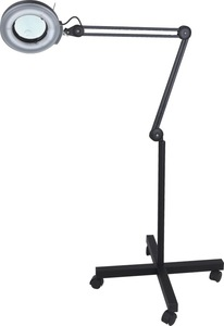 Rolling Adjustable MAGNIFYING LAMP BEAUTY Standing Mag Light SALON FACIAL Wheels