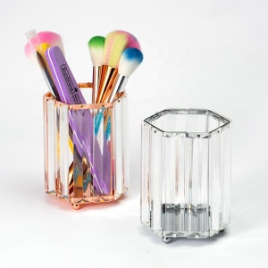 Square/Diamond/Round Shape Manicure Tools Holder Hollow-out Design Silver Crystal Make-up Brush Holder POT-66