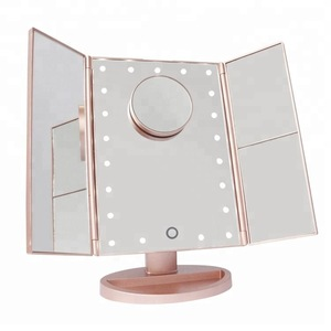 Touch Screen Trifold 21 LED Lighted Vanity Makeup Mirror with 1x/2x/3x Magnification USB Charging 180 Degree Adjustable Stand