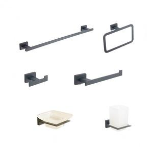 20700 European Design Bathroom Accessories Square Plate Zinc Alloy Chrome 6 pcs Bath Hardware Set