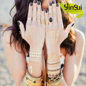 color temporary tattoo stencil For Painting Body Art Temporary Waterproof Glitter Metal Gold Loves Color Tattoos