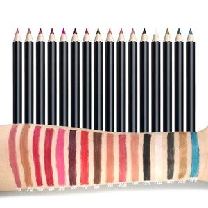 批发高品质美容无标签产品16色木持久哑光防水化妆品眼圈唇线笔