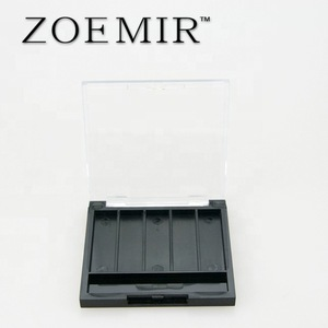 clear cap black 5 palette empty eye shadow case custom design compact powder case with brush place