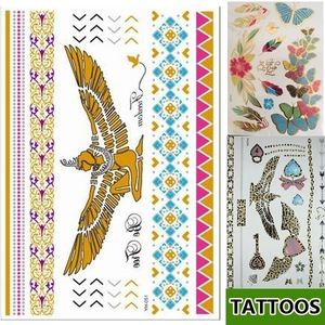 eagle design golden tattoo sticker body art YH051