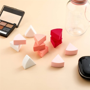 Manufacturer Cosmetic Foundation Puff Triangle Shape With Container Beauty Color Sponge Makeup Puff Powder Puff
