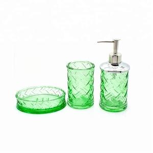 New product glass home garden 4 Piece Bathroom Accessories Set Soap Dispenser for Bath Gift Set