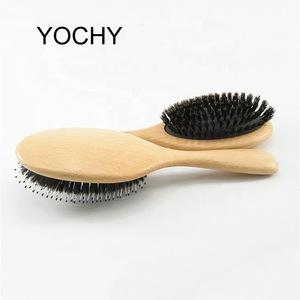 Wood Handle Hair Brush Natural Boar Fluffy Bristle Anti Loss Comb Hairdressing Barber Tool Teasing Bristle Salon Hairbrush