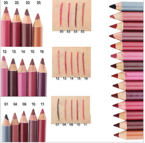 wood lip pencil ,ADE085HOT,	12 color lip liner/long lasting lip pencils