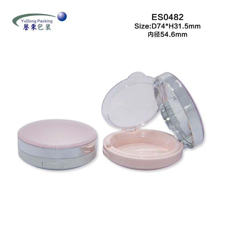 Classic Round Cosmetic Compact Powder Container 2 Layers with Mirror