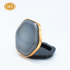 10G/ 72*77*23 mm Hexagon plastic loose cosmetic packaging press powder compact case for make-up