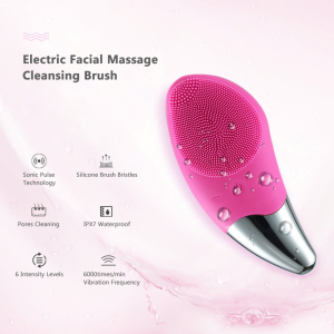 Waterproof Silicone Sonic Face Cleanser Deep Pore Brush Device Skin Care Cleanser Tool Electric Facial Cleansing Brush Massager