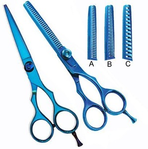 colorful hair cutting scissors set,japanese steel,titanium blue color scissors and thinning set ,