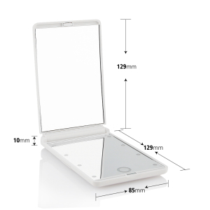 Compact Pocket double side table mirror led mirror with touch screen Makeup Mirror with  8 LED