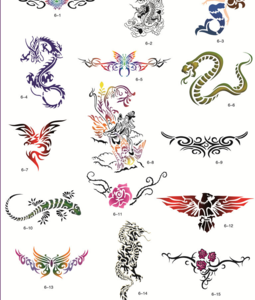 Golden Phoenix Book 6 Animal Stencils For Airbrush Tattoo Sticker