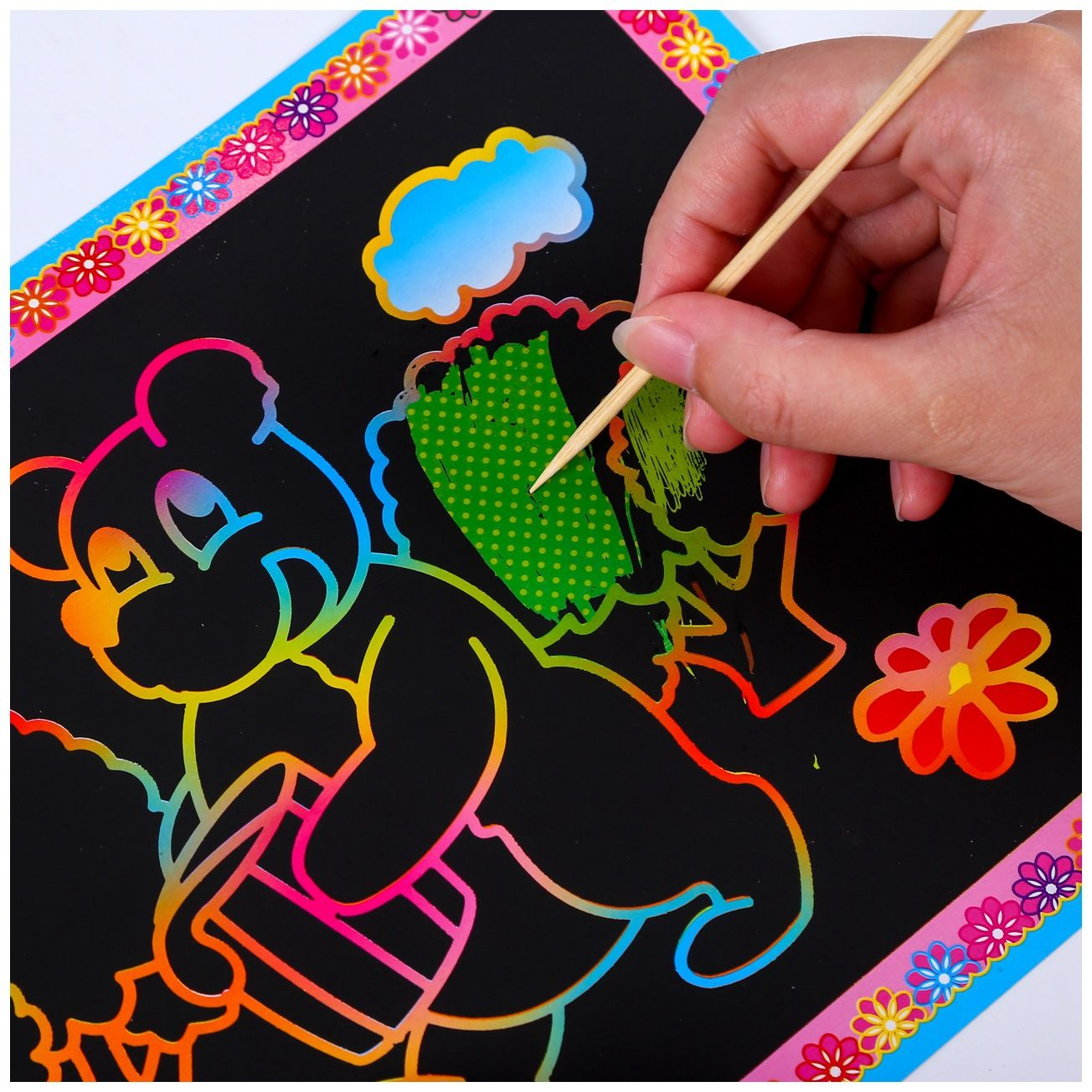 Children creative color painting Scratch painting doodle book Diy diy scratch paper puzzle toy magic scratch book