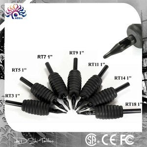 TATOO 40pcs 16mm Silicone Soft Black Grip Disposable Tattoo Tubes with Clear Long Tips 9D for Liner Shading