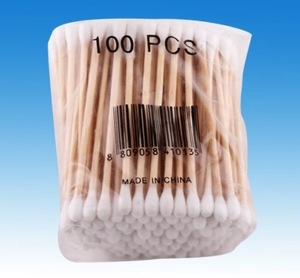 WOODEN STICK COTTON SWABS 100% NATURAL COTTON DOUBLE HEAD FOR MAKEUP AND DAILY USE