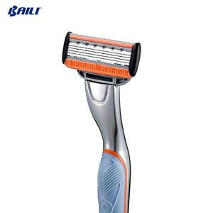 rubber metal handle Five blades Razor with lubricating strip