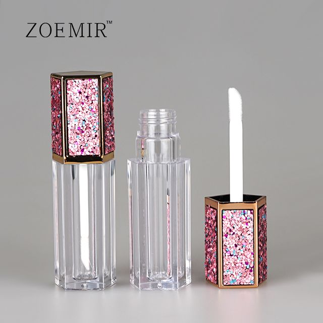 Bling sticker hexagon lip gloss container tube with wand