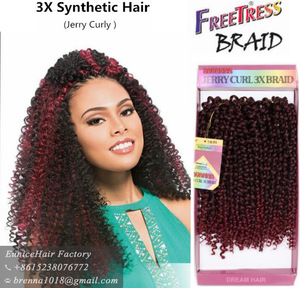 3X Savana deep wave twist spring twist hair synthetic hair peice with 27pcs jerry curly freetress crochet hair