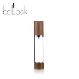 BDPAK bamboo cosmetic packaging airless pump bottle plastic bamboo cap clear Body cosmetic bottles for facial cream