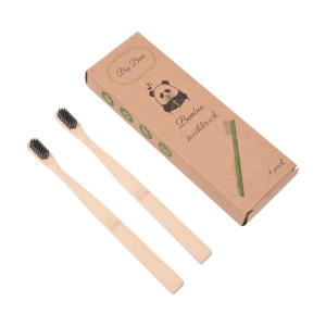 Biodegradable family travel Soft Bristles pack  bamboo charcoal toothbrush  pack of 2
