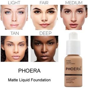 Phoera Perfect Beauty 30ml Face Liquid Foundation Base Soft Matte Long Wear Oil Control Concealer Foundation Cream Women Makeup