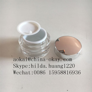 Luxury acrylic 30g clear plastic jar with metal silver lid and silver inner jar/Old round cream jar