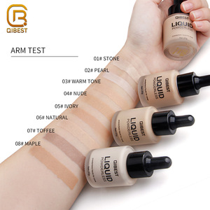 QIBEST Cosmetic Makeup Waterproof Organic Face Whitening Liquid Foundation For Oily Skin
