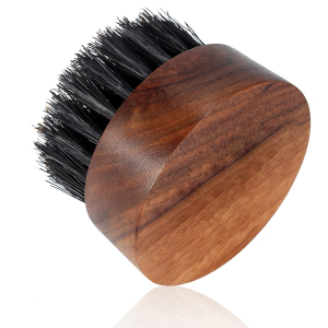 Beard Brush for Men - Boar Bristles Small and Round Brush - Black Walnut Wood mens grooming kits
