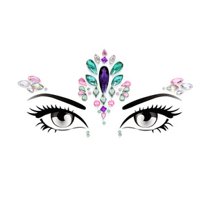 High Quality Carnival Festival Face Tattoo Stickers Multicolor Rhinestone Sticker Crystal Face Gem Stickers