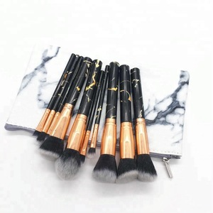 private label white black marble makeup brushes 10 /11/ 12