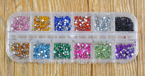 12 Colors 500Pcs 2mm Round Nails Rhinestones Wholesale Nail Jewelry Supplies Nail Art Designs for Cool Girl