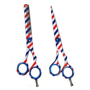 Hairdressing Cutting Shears Professional Hair Scissor For Barber Shop / Barber Pole Printed