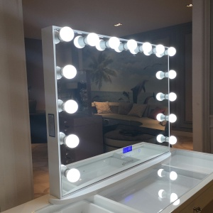 Stock in US! Docarelife Vanity Hollywood Lighted Mirror Wireless Speaker Desktop Beauty Makeup Mirror with Led Bulb