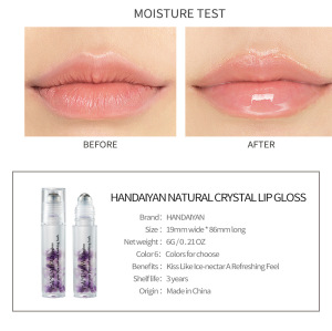 Vegan Private Label Crystal Stone Roll-On Lip Oil Plumper Clear Plumping Lip Gloss Sexy Lip Gloss