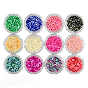 12 Colors Nail Art 3d Nail Art Decorations Sparkle Powder Crushed Sea Shell Glitter Tips