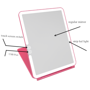 2018 Desktop Foldable Makeup Mirror with LED Lights and Touch Sensor