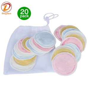 Bamboo Makeup Remover  16 pack with Laundry Bag Reusable Soft Facial and Skin Care Wash Cloth Pads